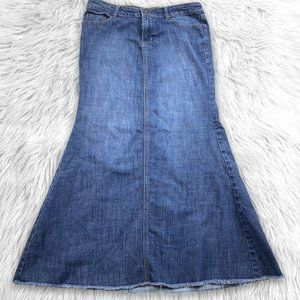 Boom Boom Modest Long Denim Jean Skirt Size L Blue